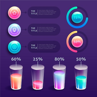 Infográficos brilhantes 3d com óculos abstratos gráfico