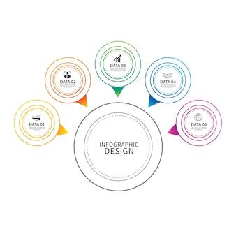 Infográficos círculo linha fina com 5 dados modelo.