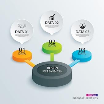 Infográficos círculo papel com 3 dados modelo.