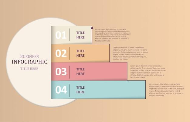 Infográficos coloridos 4 modelo de opções de número.