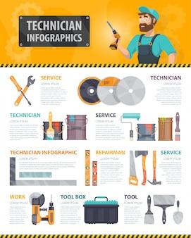 Infográficos coloridos de serviços de conserto