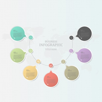 Infográficos coloridos e ícones para apresentação de negócios
