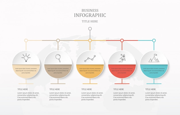 Infográficos coloridos e idéias para o negócio.