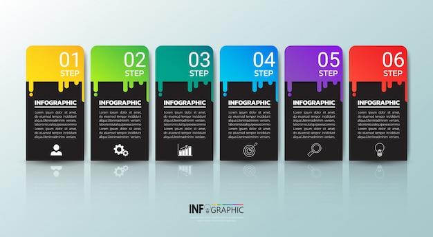 Infográficos coloridos modelo de seis etapas.