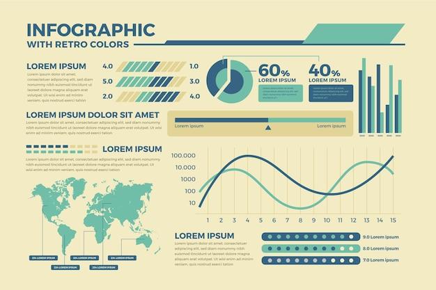 Infográficos coloridos no conceito de design plano