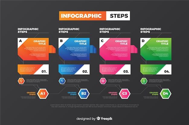 Infográficos coloridos passos coleção