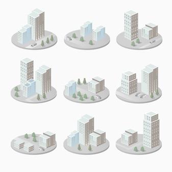 Infográficos com casas isométricas e paisagem urbana