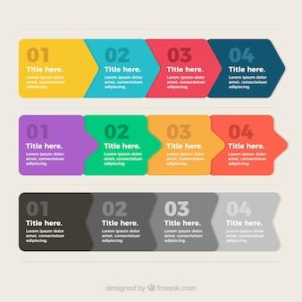 Infográficos com etapas no design plano