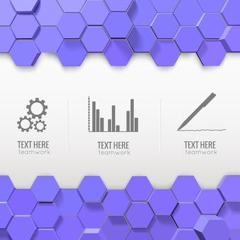Infográficos com ícones de negócios monocromáticos e hexágonos azuis