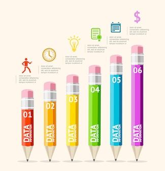 Infográficos com lápis podem ser usados em brochuras de opções de desenvolvimento de web design flat design