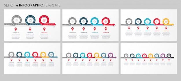 Infográficos conjunto com ícones e 3, 4, 5, 6, 7, 8 opções ou etapas. conceito de negócios.
