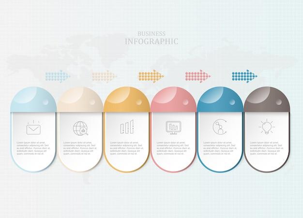 Infográficos criativos e ícones para o conceito de negócio atual.