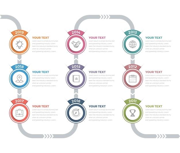 Infográficos da linha do tempo (09 etapas)