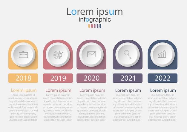 Infográficos da linha do tempo com 5 etapas ou opções.