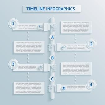 Infográficos da linha do tempo em papel
