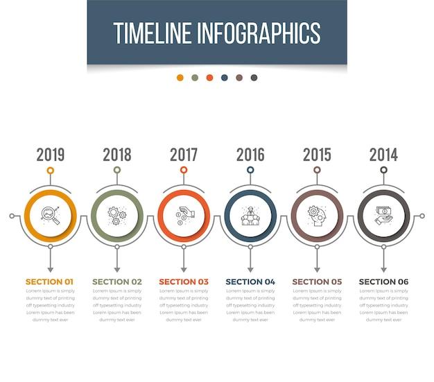 Infográficos da linha do tempo horizontal
