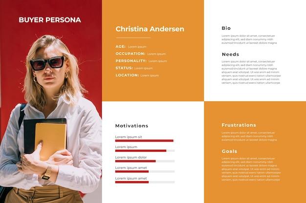 Infográficos da persona do comprador com foto