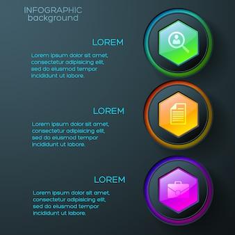 Infográficos da web com ícones de negócios, hexágonos e anéis brilhantes coloridos