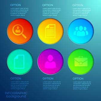 Infográficos da web de negócios com seis opções de botões e ícones redondos coloridos