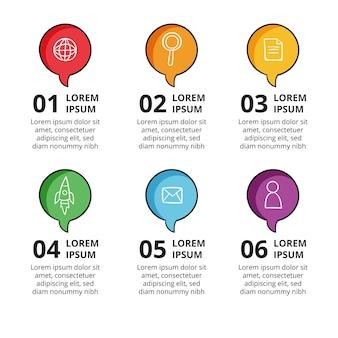Infográficos de balões de fala desenhados à mão