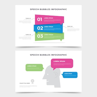 Infográficos de bolhas de discurso de design plano