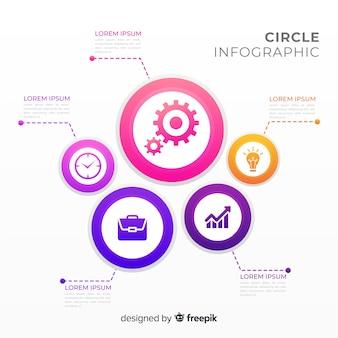 Infográficos de círculo geométrico gradiente plana