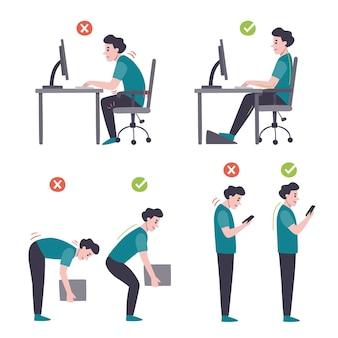 Infográficos de correção de postura de estilo desenhado à mão