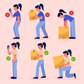 Infográficos de correção de postura estilo desenho animado