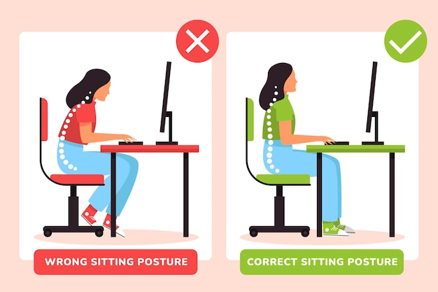 Infográficos de correção de postura plana