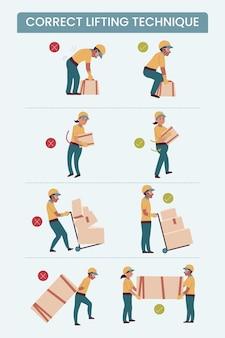 Infográficos de correção de postura plana Vetor grátis