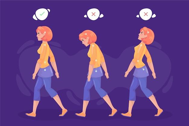 Infográficos de correção de postura