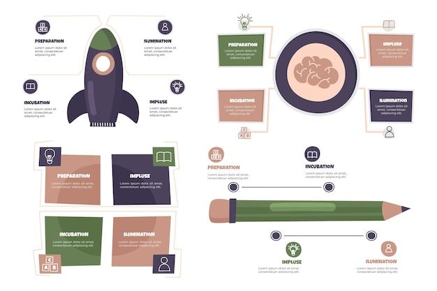 Infográficos de criatividade desenhados à mão