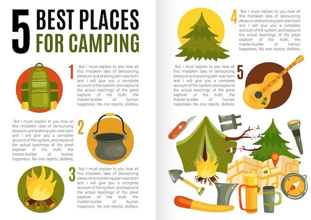 Infográficos de design plano com campo de texto apresentando informações sobre os melhores lugares para acampar e equipamentos necessários
