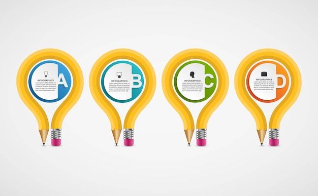Infográficos de educação para apresentações de negócios ou banner de informações