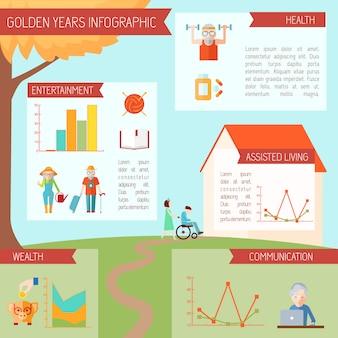 Infográficos de estilo de vida sênior com símbolos de saúde de pessoas idosas e estatísticas gráficos vector illustration