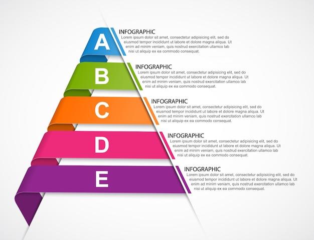 Infográficos de fitas em forma de pirâmide.
