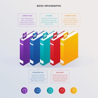 Infográficos de livro plano