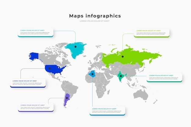 Infográficos de mapas em design plano