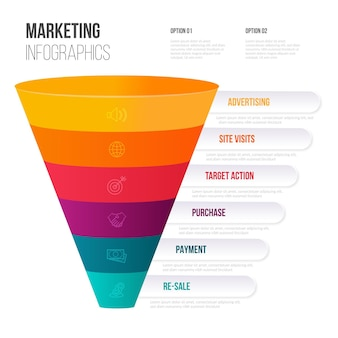 Infográficos de marketing de cone de design plano