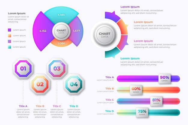 Infográficos de marketing de gradiente