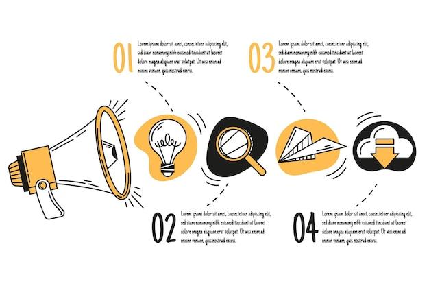 Infográficos de marketing desenhados à mão