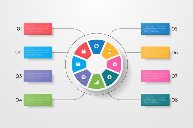 Infográficos de negócios círculo estilo com oito opções, etapas ou processos. infográficos circulares ou de ciclo. pode ser usada para layout de fluxo de trabalho, banner, diagrama, design web, educação.