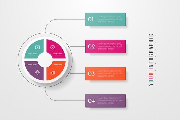 Infográficos de negócios círculo estilo com quatro opções, etapas ou processos. infográficos circulares ou de ciclo. pode ser usada para layout de fluxo de trabalho, banner, diagrama, web, educação.