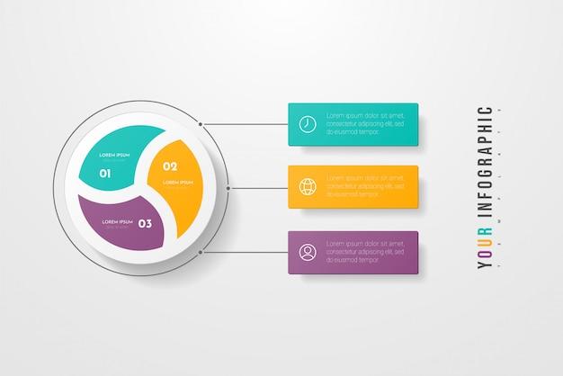 Infográficos de negócios círculo estilo com três opções, etapas ou processos. infográficos circulares ou de ciclo. pode ser usada para layout de fluxo de trabalho, banner, diagrama, web, educação.