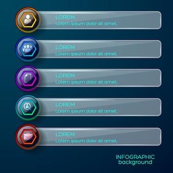 Infográficos de negócios com botões hexagonais brilhantes coloridos na horizontal