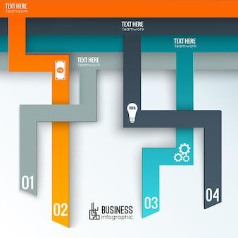 Infográficos de negócios com guias verticais numeradas