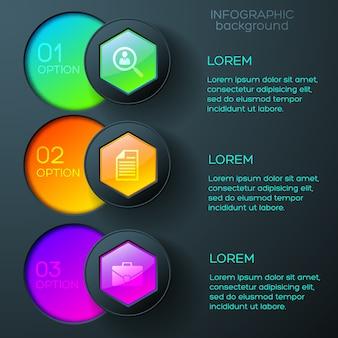 Infográficos de negócios com ícones coloridos, hexágonos brilhantes e botões redondos