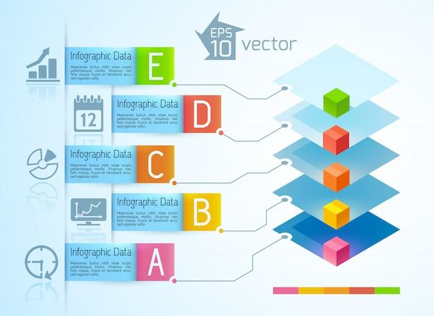 Infográficos de negócios modernos com quadrados 3d coloridos e cinco ícones de banners de texto em fita na ilustração de luz