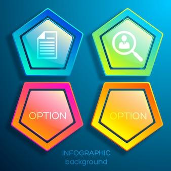 Infográficos de negócios na web com hexágonos coloridos, duas opções e ícones