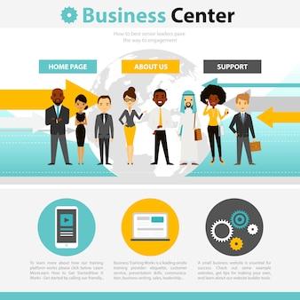 Infográficos de página da web de treinamento de negócios